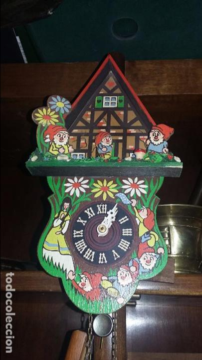 RELOJ DE CUCO INFANTIL BLANCANIEVES Y LOS SIETE ENANITOS . FUNCIONANDO (Relojes - Pared Carga Manual)