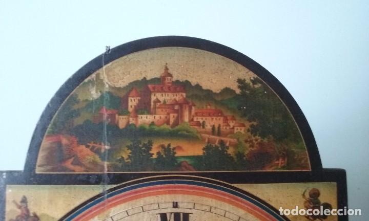 Relojes de pared: RELOJ TIPO RATERA SIGLO XVIII, CON PESAS FORMA DE PIÑA Y PENDULO SELLO MARCA DE FABRICA - Foto 4 - 68374473