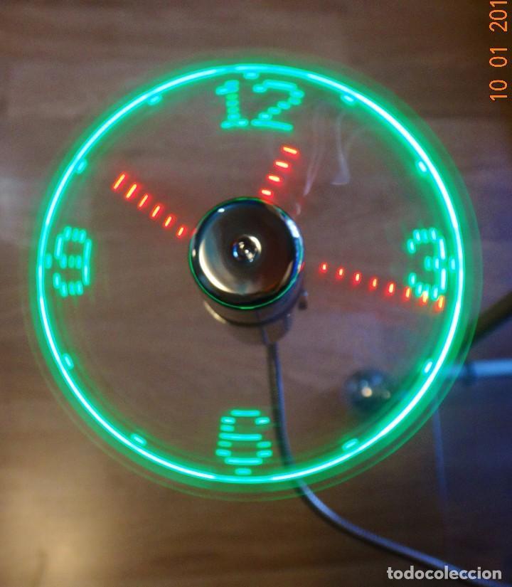 Relojes de pared: RELOJ LED MULTICOLOR USB LÁSER FLOTANTE + VENTILADOR - Foto 4 - 69891057