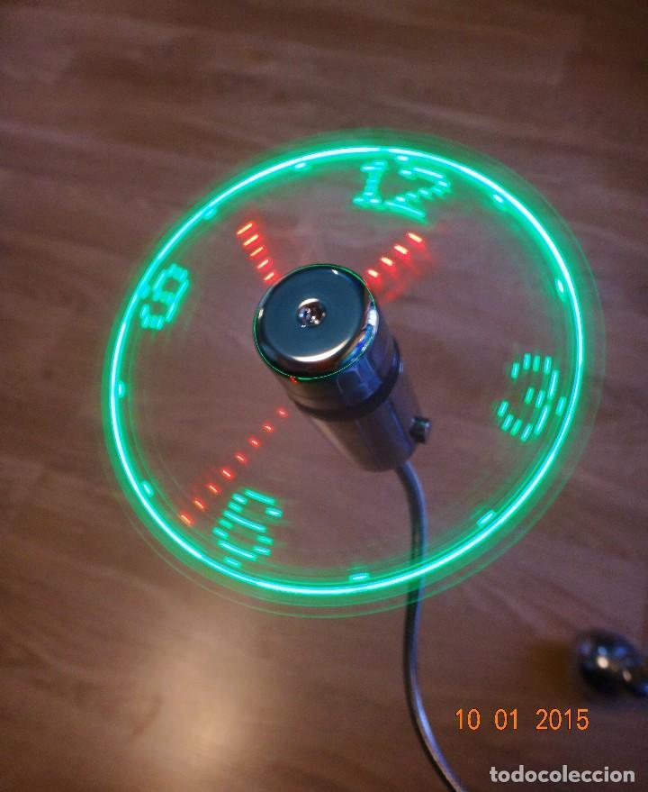 Relojes de pared: RELOJ LED MULTICOLOR USB LÁSER FLOTANTE + VENTILADOR - Foto 6 - 69891057