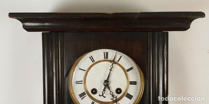 Relojes de pared: RELOJ DE PARED. MUEBLE EN MADERA. MAQUINARIA PARIS. SIGLO XIX-XX. - Foto 2 - 72209779