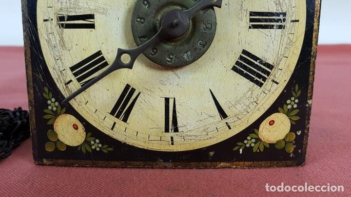 Relojes de pared: RATERA O RELOJ DE PARED DE FORMATO PEQUEÑO. MADERA POLICROMADA. ALEMANIA? SIGLO XIX - Foto 12 - 72852035