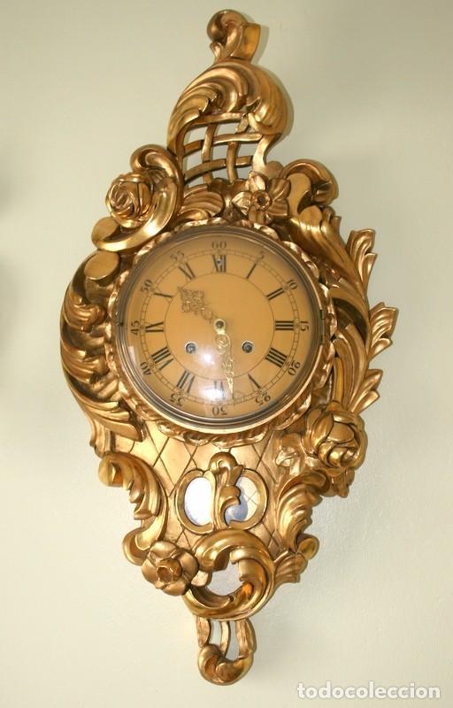 Relojes de pared: ANTIGUO RELOJ SUECO,CON SUS APLIQUES A JUEGO, CON CUERDA, FUNCIONANDO - Foto 3 - 74417327
