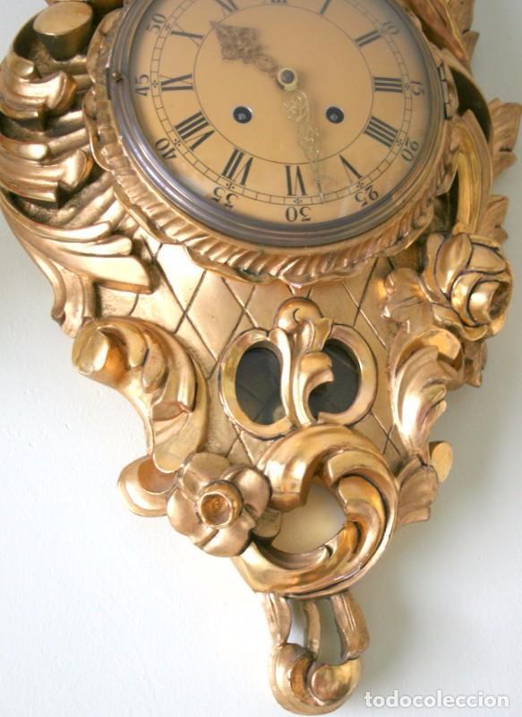 Relojes de pared: ANTIGUO RELOJ SUECO,CON SUS APLIQUES A JUEGO, CON CUERDA, FUNCIONANDO - Foto 5 - 74417327