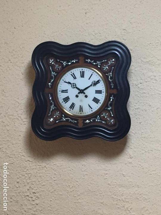 Relojes de pared: Reloj de pared movimiento de pendulo, con soneria y caja con marquetería - Foto 5 - 80393429
