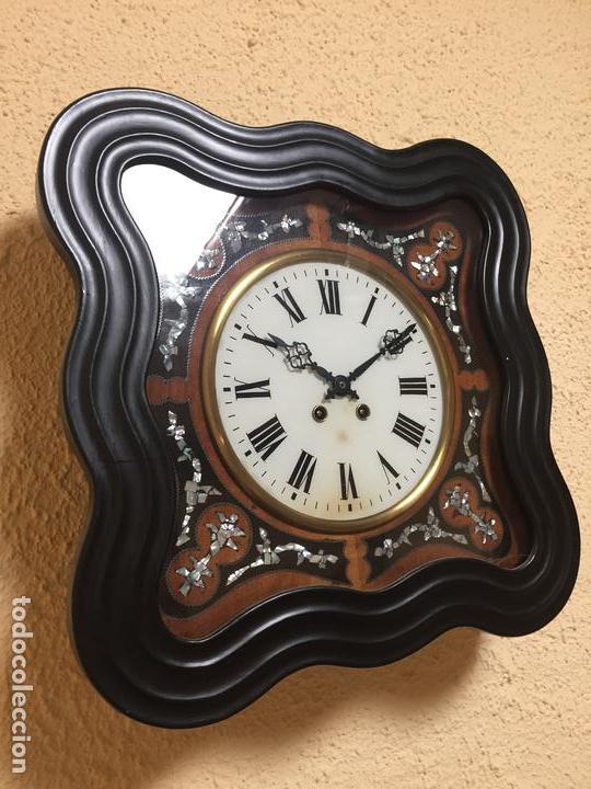 Relojes de pared: Reloj de pared movimiento de pendulo, con soneria y caja con marquetería - Foto 7 - 80393429