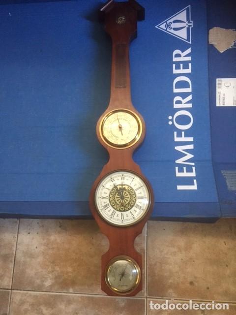 Relojes de pared: RELOJ DE CUERDA ALEMAN PERFECTO ,MAS ESTACION BAROMETRICA EN MADERA NOBLE VER FOTOS - Foto 2 - 80447213