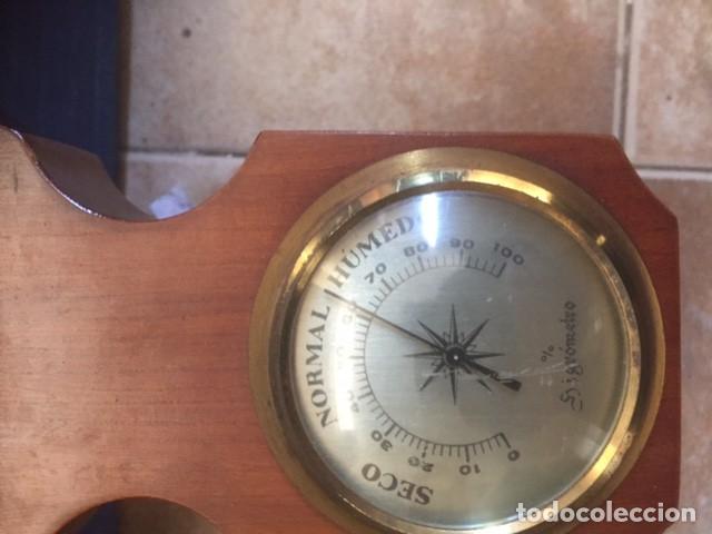 Relojes de pared: RELOJ DE CUERDA ALEMAN PERFECTO ,MAS ESTACION BAROMETRICA EN MADERA NOBLE VER FOTOS - Foto 4 - 80447213