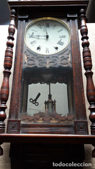 RELOJ DE PARED ANTIGUO 1910 AMERICANO MARCA ANGLO JEROME & CO FUNCIONANDO VER FOTOS (Relojes - Pared Carga Manual)
