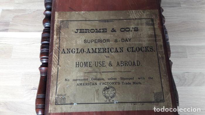 Relojes de pared: RELOJ DE PARED ANTIGUO 1910 AMERICANO MARCA ANGLO JEROME & CO FUNCIONANDO VER FOTOS - Foto 7 - 83912736