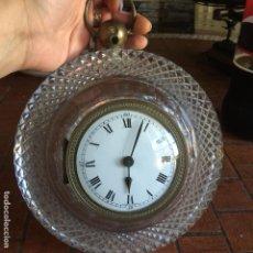 Relojes de pared: ANTIGUO Y RARO RELOJ DE PARED A CUERDA CRISTAL Y BRONCE SH HOUR FRANCE. Lote 87035756