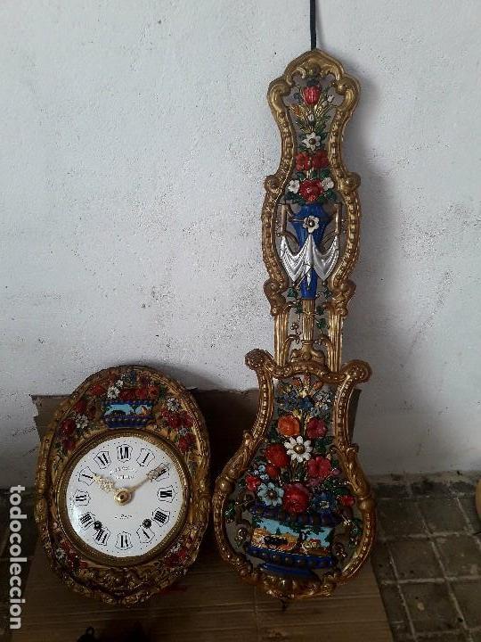 RELOJ MOREZ ANTIGUO PÉNDULO REAL BUENOS DETALLES Y ESTADO FUNCIONA PARA COLECION (Relojes - Pared Carga Manual)