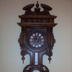 Relojes de pared: RELOJ PARED CON TERMÓMETRO Y BARÓMETRO ANTIGUO. Lote 95490567