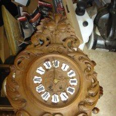 Relojes de pared: ESPLENDIDO RELOJ OJO DE BUEY EN MADERA TALLADA FINALES SIGLO XIX. Lote 95865759