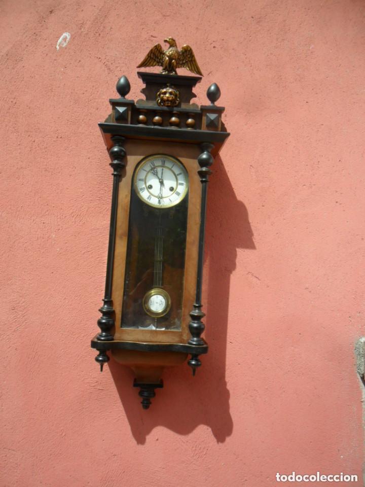 Relojes de pared: RELOJ DE PARED EN MADERA DE NOGAL Y MAQUINARIA JUNGANS PRINCIPIOS DEL SIGLO XX - Foto 3 - 97469243