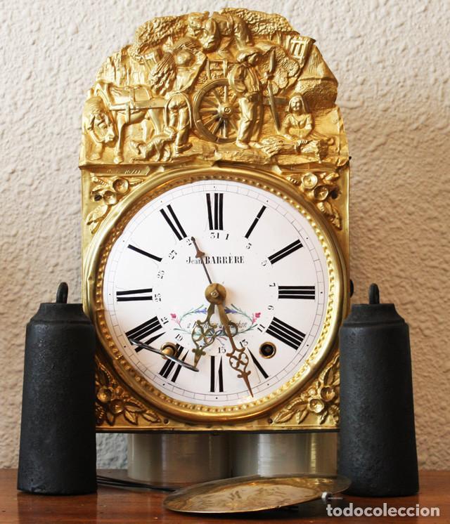 IMPRESIONANTE RELOJ MOREZ CON CALENDARIO RECIEN RESTAURADO JEAN BARRERE BAGNERES DE LUCHON (FRANCIA) (Relojes - Pared Carga Manual)