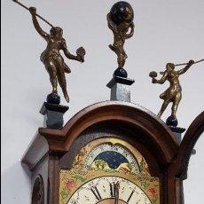 Relojes de pared: ANTIGUO RELOJ DE PARED HOLANDÉS CON PESAS Y FASES LUNARES.. Lote 100573819
