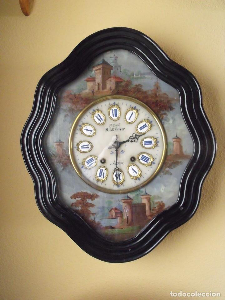 ANTIGUO OJO BUEY MOREZ PINTADO AL OLEO-AÑO 1880-REPITE LAS HORAS (Relojes - Pared Carga Manual)