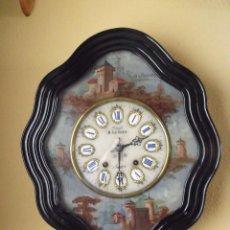 Relojes de pared: ANTIGUO OJO BUEY MOREZ PINTADO AL OLEO-AÑO 1880-REPITE LAS HORAS. Lote 101294883