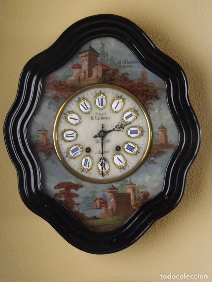 Relojes de pared: Antiguo OJO BUEY MOREZ PINTADO AL OLEO-año 1880-REPITE LAS HORAS - Foto 2 - 101294883