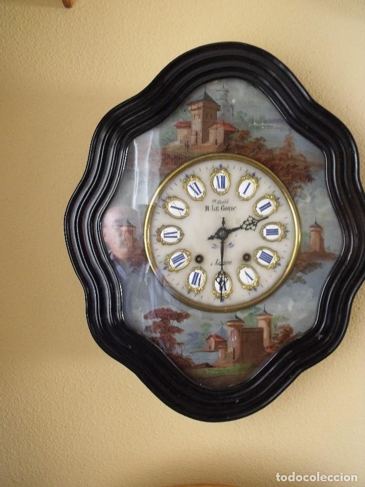 Relojes de pared: Antiguo OJO BUEY MOREZ PINTADO AL OLEO-año 1880-REPITE LAS HORAS - Foto 3 - 101294883