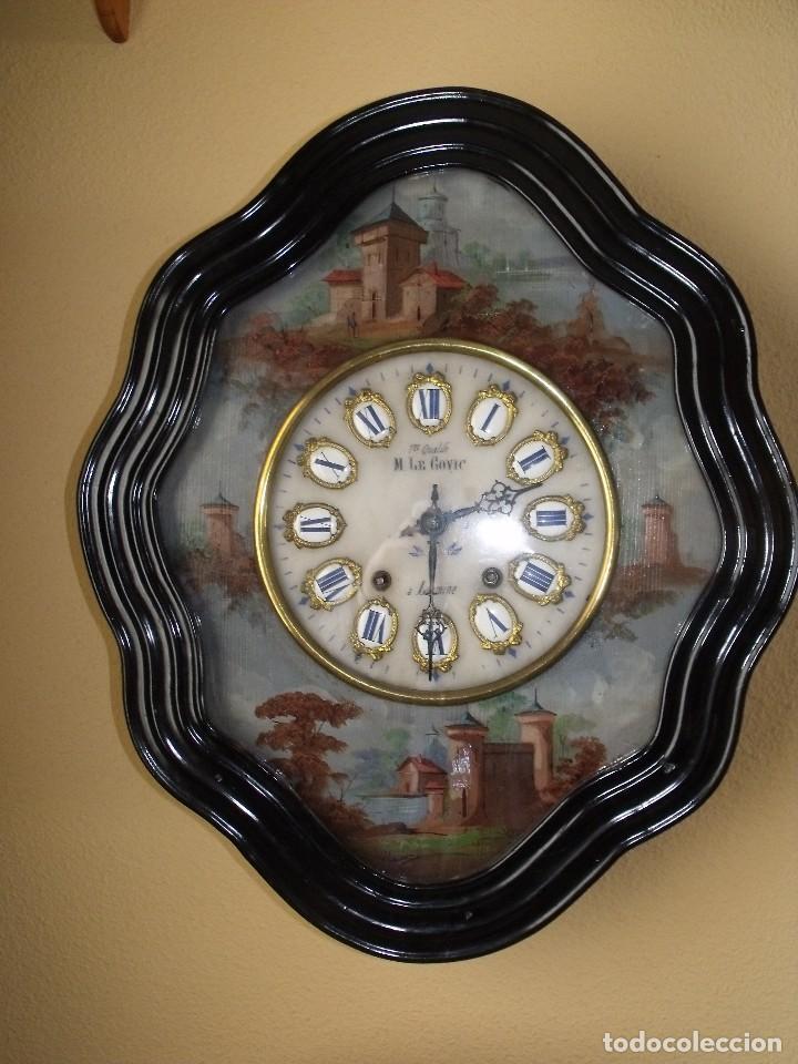 Relojes de pared: Antiguo OJO BUEY MOREZ PINTADO AL OLEO-año 1880-REPITE LAS HORAS - Foto 5 - 101294883