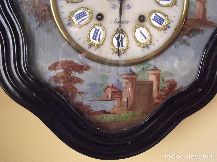 Relojes de pared: Antiguo OJO BUEY MOREZ PINTADO AL OLEO-año 1880-REPITE LAS HORAS - Foto 6 - 101294883