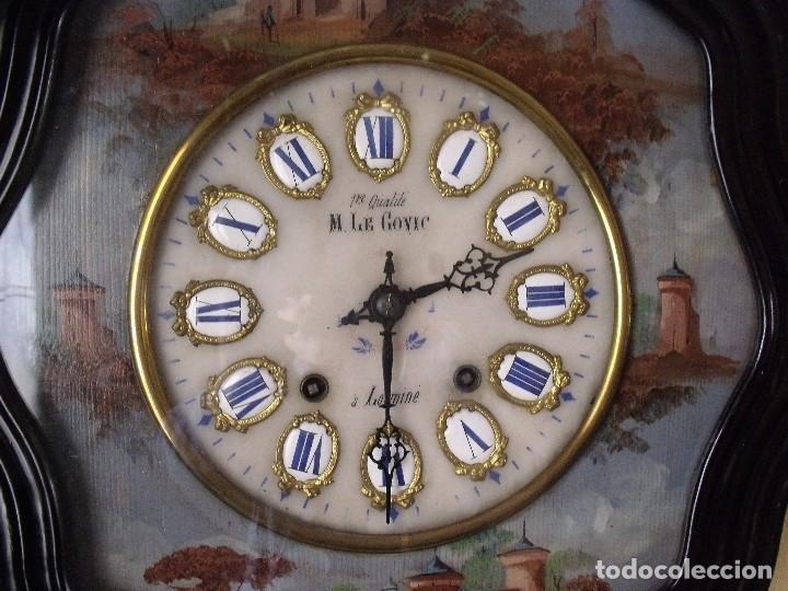 Relojes de pared: Antiguo OJO BUEY MOREZ PINTADO AL OLEO-año 1880-REPITE LAS HORAS - Foto 7 - 101294883