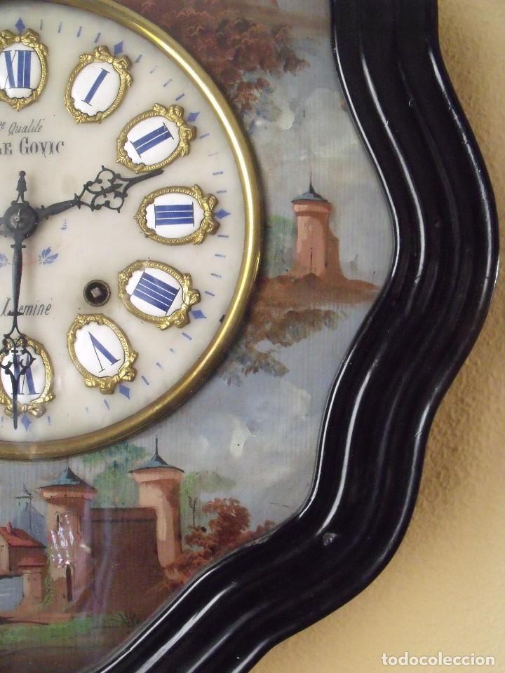 Relojes de pared: Antiguo OJO BUEY MOREZ PINTADO AL OLEO-año 1880-REPITE LAS HORAS - Foto 8 - 101294883