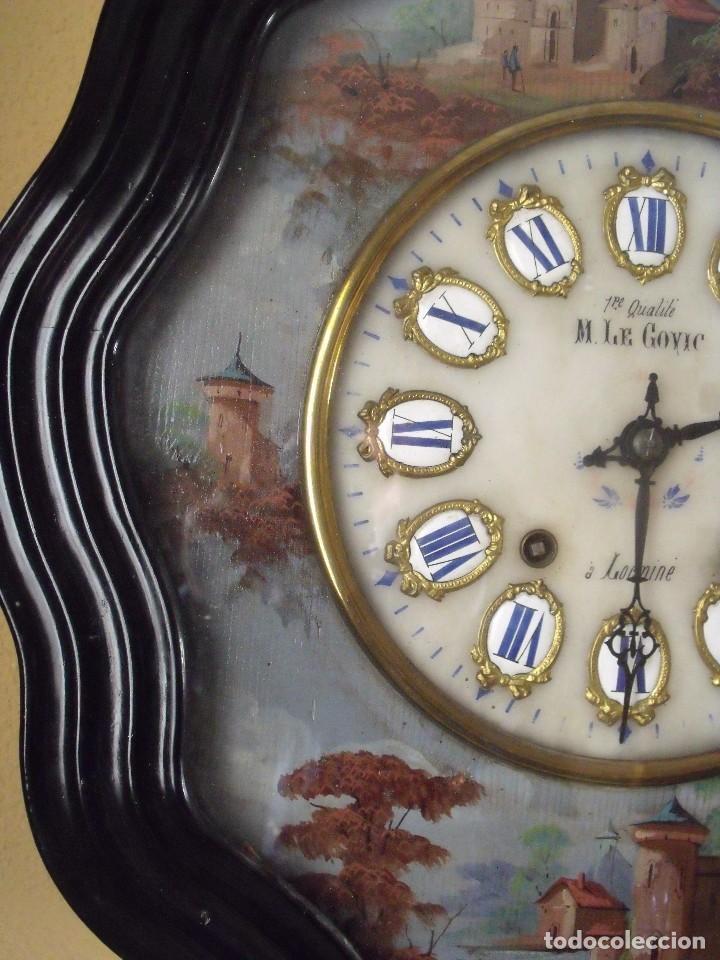 Relojes de pared: Antiguo OJO BUEY MOREZ PINTADO AL OLEO-año 1880-REPITE LAS HORAS - Foto 9 - 101294883
