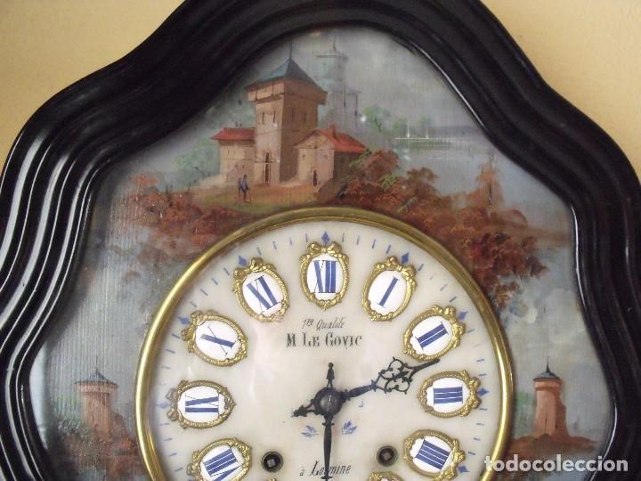 Relojes de pared: Antiguo OJO BUEY MOREZ PINTADO AL OLEO-año 1880-REPITE LAS HORAS - Foto 10 - 101294883