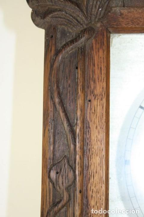 Relojes de pared: RELOJ DE PARED MODERNISTA. MADERA DE ROBLE. PRINCIPIOS SIGLO XX - Foto 9 - 101288252