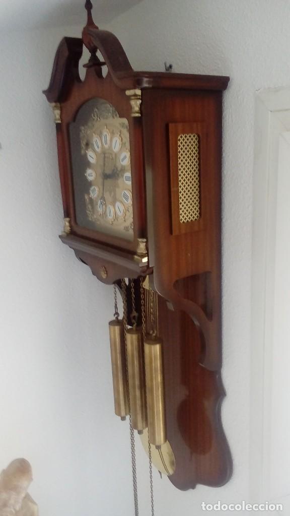 Relojes de pared: RELOJ DE PÉNDULO DE PARED MARCA RADIANT CARRILLÓN CON TRES PESOS . - Foto 2 - 104060727