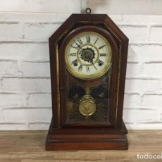 Relojes de pared: ANTIGUO RELOJ WATERBURY MODELO BEACON DE 1883 FUNDADA BY BENEDICT & BURHAM EN 1857 USA FUNCIONANDO. Lote 108853346