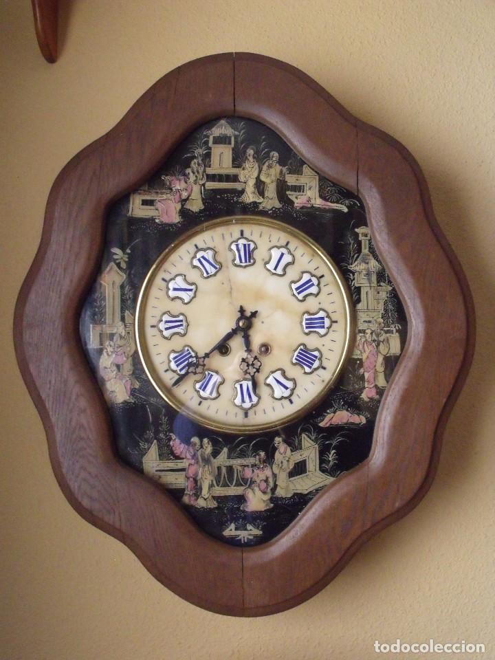 ANTIGUO OJO BUEY PARIS- DECORADO A MANO CON MOTIVOS JAPONESES- AÑO 1890 (Relojes - Pared Carga Manual)