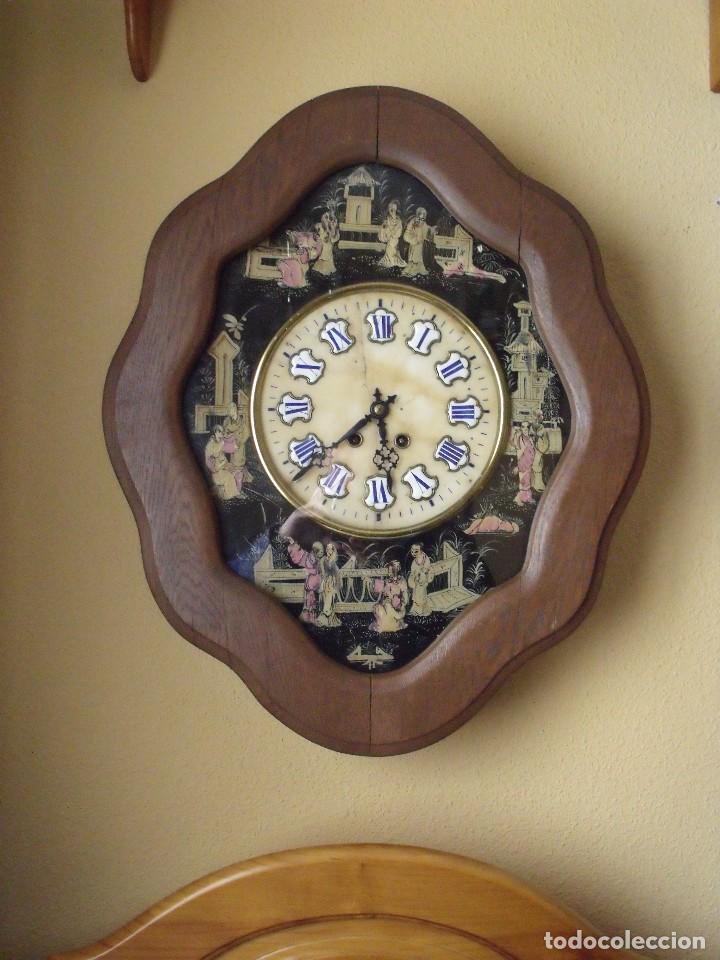 Relojes de pared: antiguo ojo buey Paris- DECORADO A MANO con MOTIVOS JAPONESES- año 1890 - Foto 2 - 114267903
