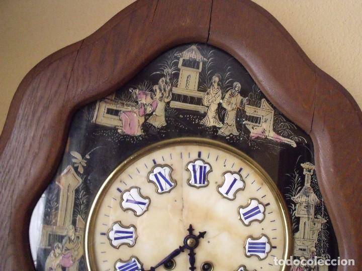 Relojes de pared: antiguo ojo buey Paris- DECORADO A MANO con MOTIVOS JAPONESES- año 1890 - Foto 3 - 114267903