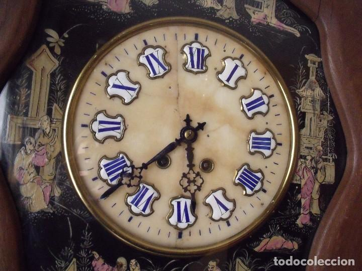 Relojes de pared: antiguo ojo buey Paris- DECORADO A MANO con MOTIVOS JAPONESES- año 1890 - Foto 4 - 114267903