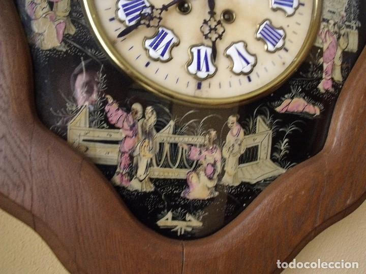 Relojes de pared: antiguo ojo buey Paris- DECORADO A MANO con MOTIVOS JAPONESES- año 1890 - Foto 5 - 114267903