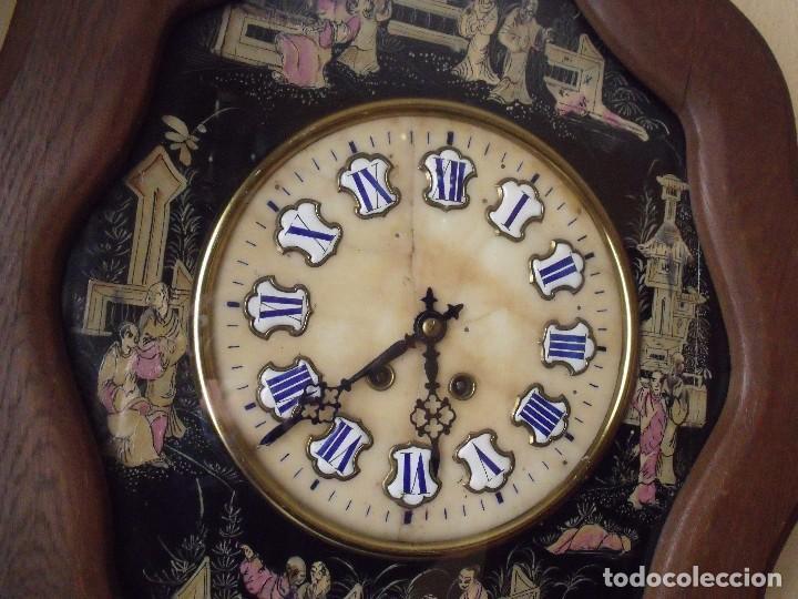Relojes de pared: antiguo ojo buey Paris- DECORADO A MANO con MOTIVOS JAPONESES- año 1890 - Foto 6 - 114267903