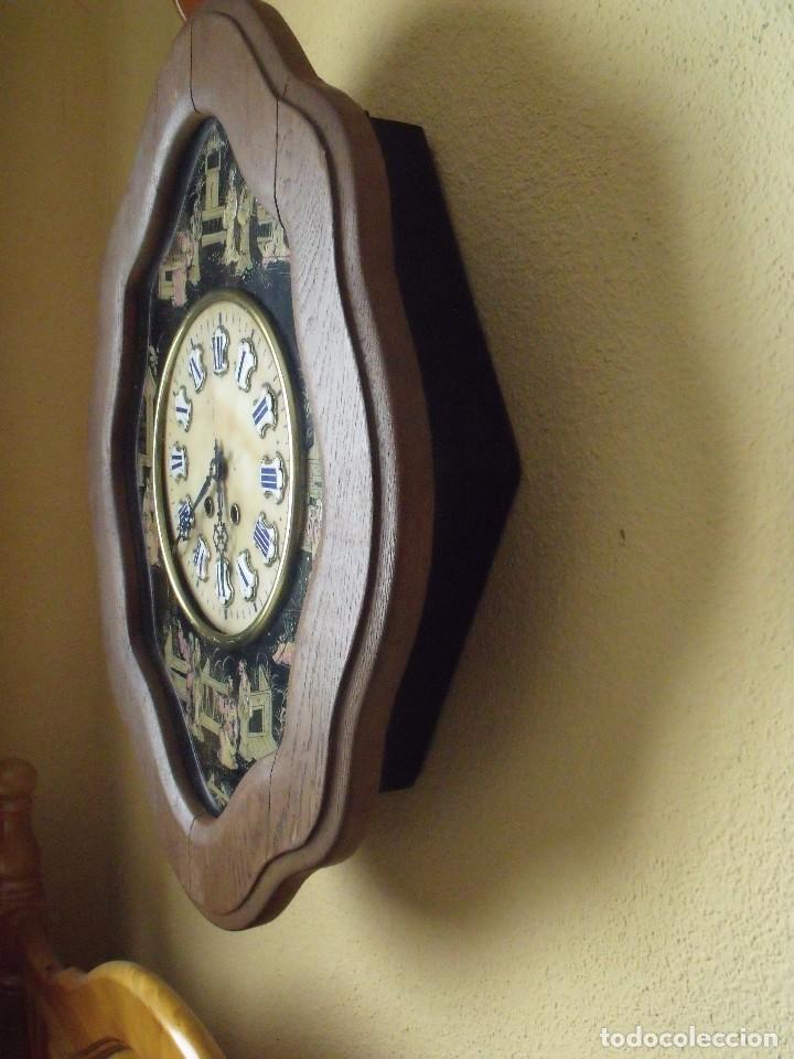 Relojes de pared: antiguo ojo buey Paris- DECORADO A MANO con MOTIVOS JAPONESES- año 1890 - Foto 7 - 114267903