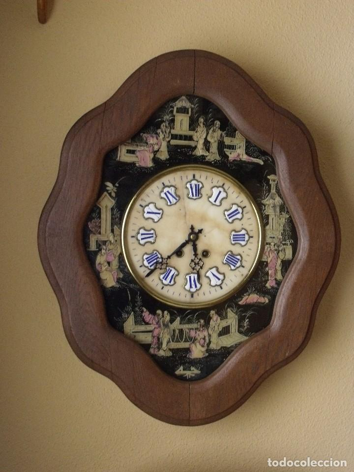 Relojes de pared: antiguo ojo buey Paris- DECORADO A MANO con MOTIVOS JAPONESES- año 1890 - Foto 8 - 114267903
