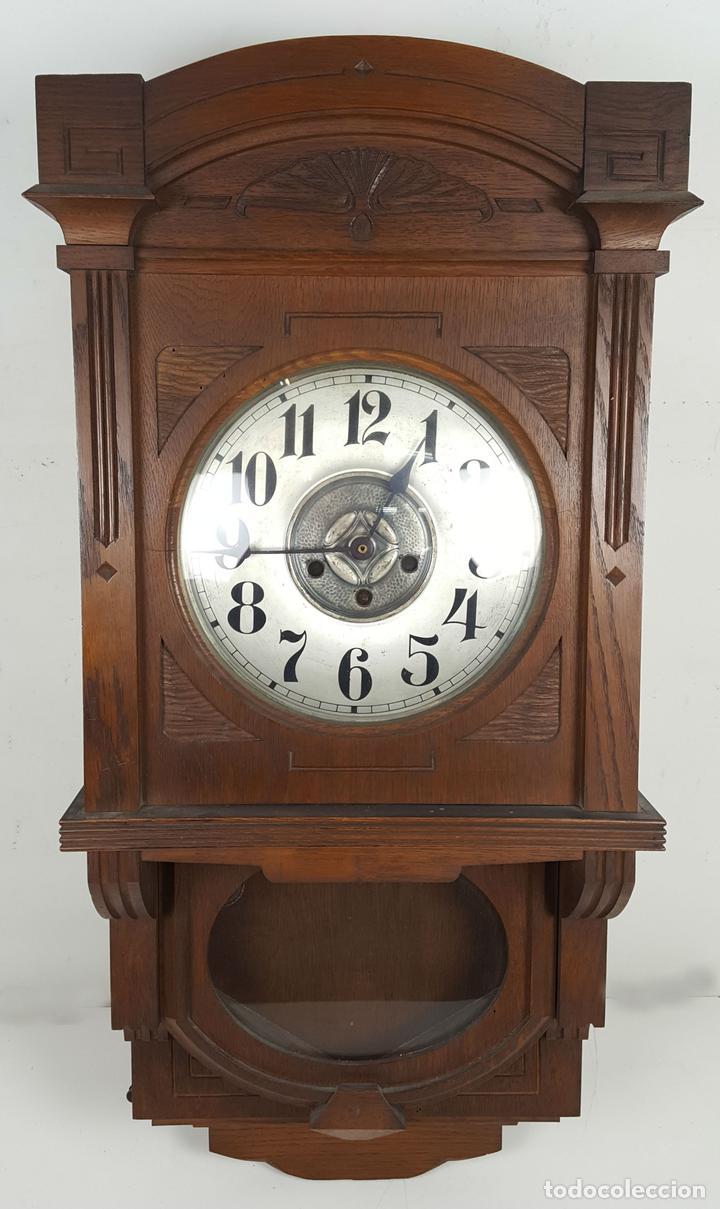 CAJA DE RELOJ DE PARED. MADERA DE NOGAL. ROHRGONG. ALEMANIA. SIGLO XIX-XX. (Relojes - Pared Carga Manual)