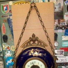 Relojes de pared: ANTIGUO RELOJ FRANCES DE PONCELANA-BLEU DO ROI. Lote 180042597