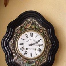 Relojes de pared: MUY BONITO Y ORIGINAL OJO DE BUEY MOREZ- FONTAL DE PAJAROS PINTADO A MANO- AÑO 1890-REPITE HORAS. Lote 119115155