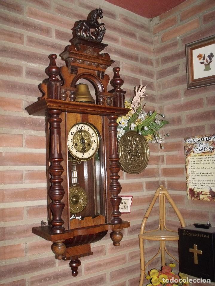 RARISIMO Y UNICO-104 CM-RELOJ ALFONSINO PFEILKREUZ- AÑO 1910- SONERIA EN CAMPANA DE BRONCE- (Relojes - Pared Carga Manual)