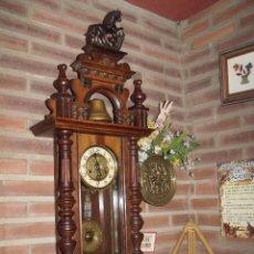 Relojes de pared: RARISIMO Y UNICO-104 CM-RELOJ ALFONSINO PFEILKREUZ- AÑO 1910- SONERIA EN CAMPANA DE BRONCE-. Lote 123547187