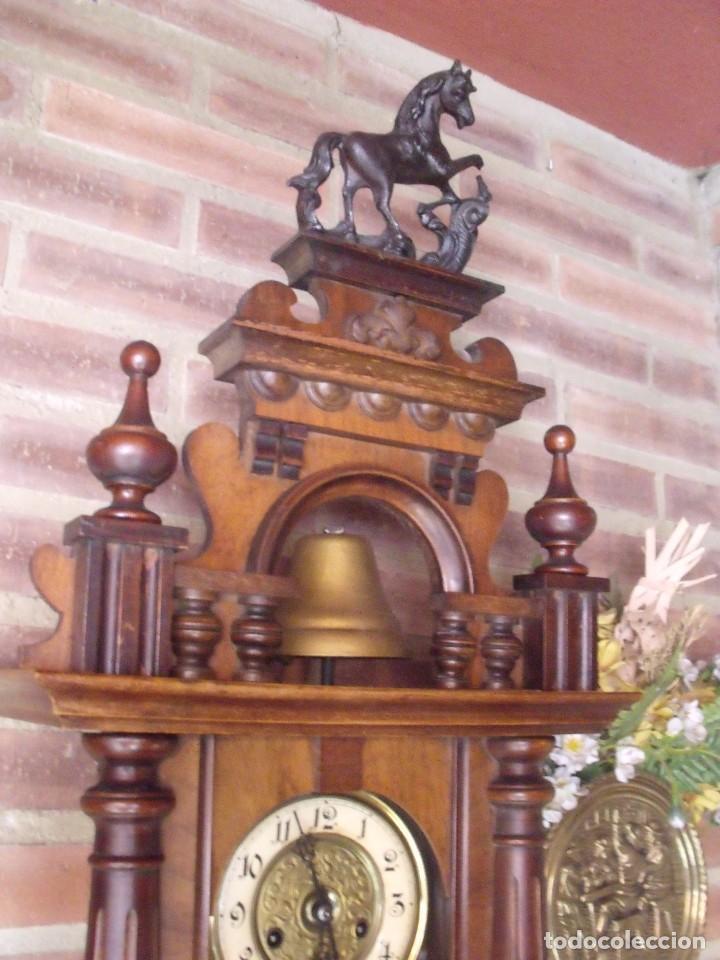 Relojes de pared: RARISIMO Y UNICO-104 CM-RELOJ ALFONSINO PFEILKREUZ- año 1910- SONERIA EN CAMPANA DE BRONCE- - Foto 3 - 123547187