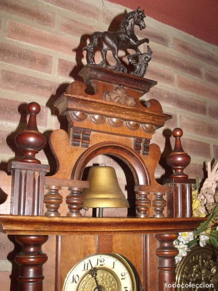 Relojes de pared: RARISIMO Y UNICO-104 CM-RELOJ ALFONSINO PFEILKREUZ- año 1910- SONERIA EN CAMPANA DE BRONCE- - Foto 4 - 123547187