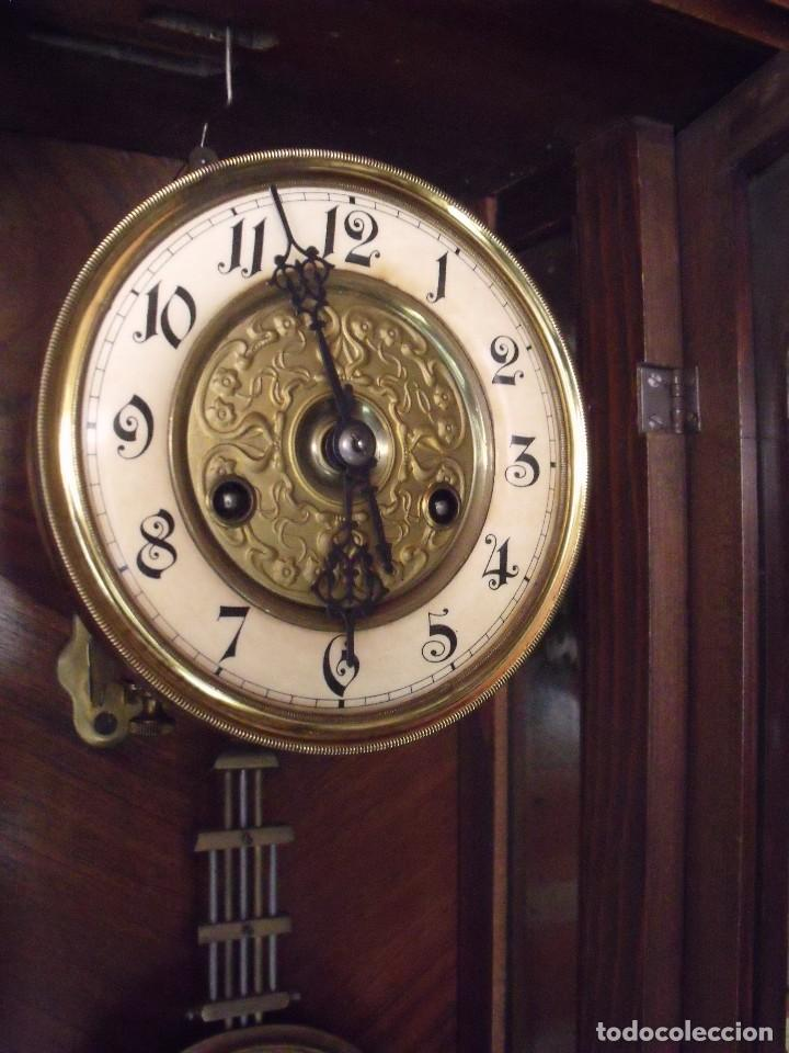 Relojes de pared: RARISIMO Y UNICO-104 CM-RELOJ ALFONSINO PFEILKREUZ- año 1910- SONERIA EN CAMPANA DE BRONCE- - Foto 10 - 123547187